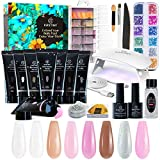 Nagelverlängerung Kit, Kastiny 8 Farben Poly Nagel Gel Starter Kit mit UV Lampe, All-in-One Slip Lösung Strass Glitter Gelnagel Set, DIY Maniküre Kit für Valentinstag Neujahr