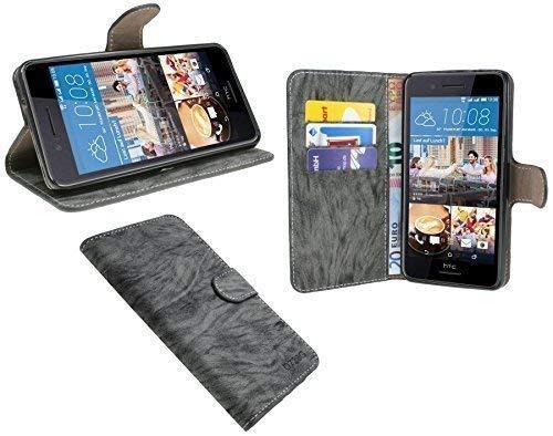ENERGMiX Elegante Buch-Tasche kompatibel mit HTC Desire 728G in Anthrazit Leder Optik Wallet Book-Style