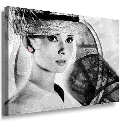Julia-Art Leinwandbilder - Audrey Hepburn Bild 1 teilig - 120 mal 80 cm Leinwand auf Rahmen - sofort aufhängbar Wandbild XXL - Kunstdrucke QN46-6