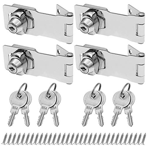 4 Pack Keyed Hasp Latch Lock 4 x 1-5/8 inch Twist Knob Keyed Locking Hasp for Small Doors, Drawer, Cabinets and More, Stainless Steel Chrome Plated Hasp Lock with Keys