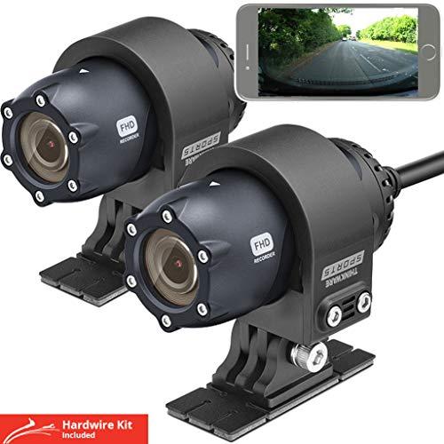 Thinkware M1 Motorbike Cam, 1080P Motorfiets Camera Dual voor en achter Motorfiets Dash Cam. Waterdichte motorrecorder, ATV, Sport Action Camera. 32 GB SD-kaart en Hardwire kabel. Android/iOS App