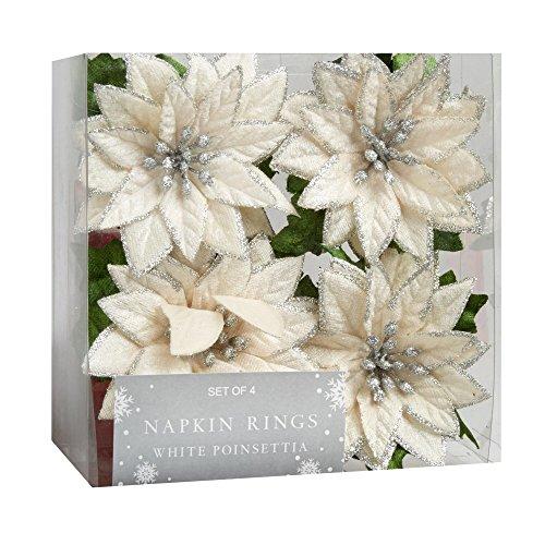Nantucket Home White Poinsettia Napkin Rings, Set of 4