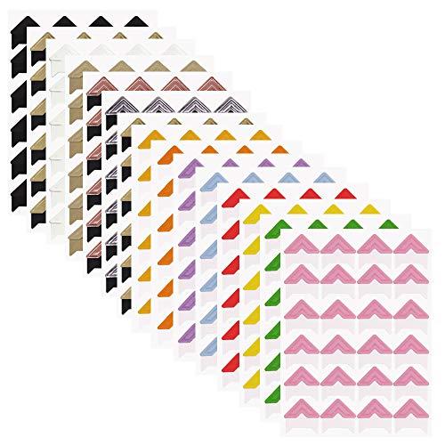 15fogli di carta foto supporto angoli, Finegood autoadesivo foto adesivo per fai da te scrapbook album diario personale organizzatore notebook–14colori