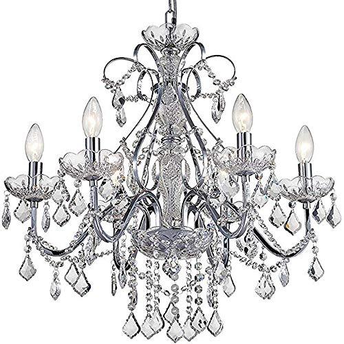 Bestier Moderne Chrom Anhänger Kronleuchter Kristall Beleuchtung Deckenleuchte Lampe für Esszimmer Badezimmer Schlafzimmer Wohnzimmer 6 E14 Lampen Erforderlich D60cm x H65cm