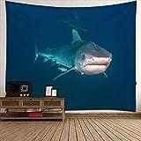 Tiburón Tapices de poliéster,vida marina Tapiz de pared para...