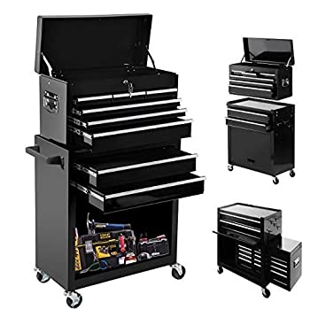 High Capacity Rolling Tool Chest with Wheels and Drawers 8-Drawer Tool Storage Cabinet,Detachable Organizer Tool Box Combo,Mobile Lockable Toolbox for Workshop Mechanics Garage