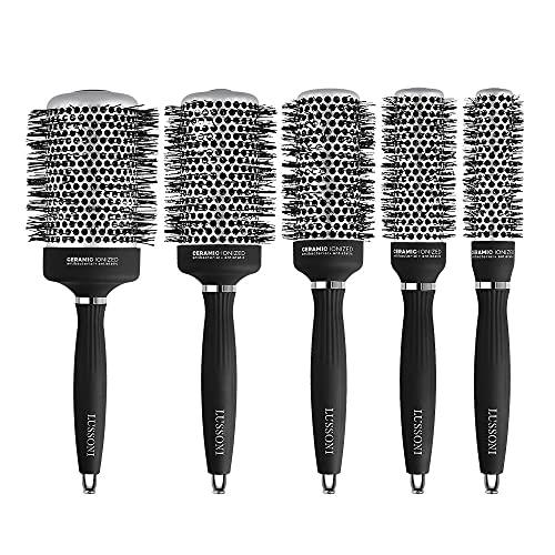T4B LUSSONI Hot Volume Brosse A Cheveux Ronde Pour Styling Cheveux Courts Et Moyens (SET 5 PCS)