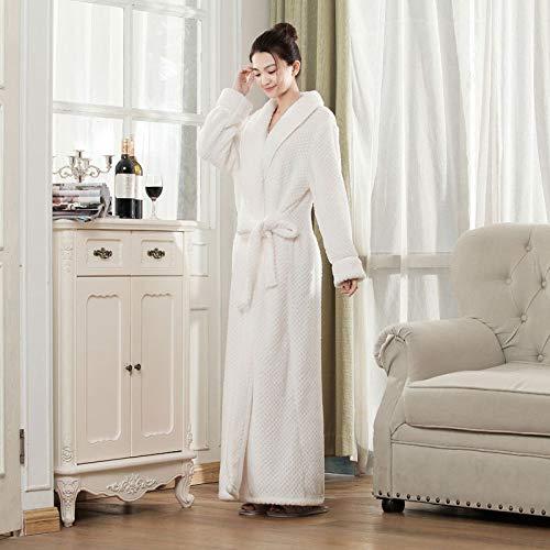 YRTHOR Bata de baño de Franela para baño de Hombres y Mujeres, Bata de baño de SPA de Cuerpo de Pijama de Lana de Coral,Blanco,M