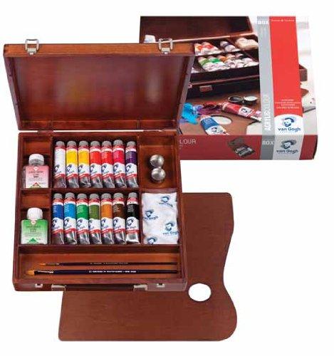 Talentos Colores acrílicos VAN GOGH caja de madera con 14 tubos 40 ml y accesorios