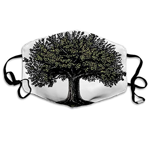 MundschutzWiederverwendbarerMundschutzimFreien,Digital Design of Mature Fruit Tree in Retro Engraving Style King of Forest,NahtloseRänderAußenabdeckungen Gesichtsbedeckung