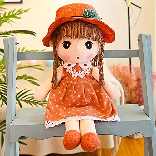CPFYZH Feiier Princess Cloth Doll Girl Plush Doll Hug 仔 仔 安 安 玩 礼 礼-Orange Tree Skirt_60 Cm