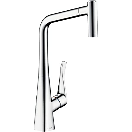 Hansgrohe 14820000 Metris grifo de cocina con ducha extraíble, cromo