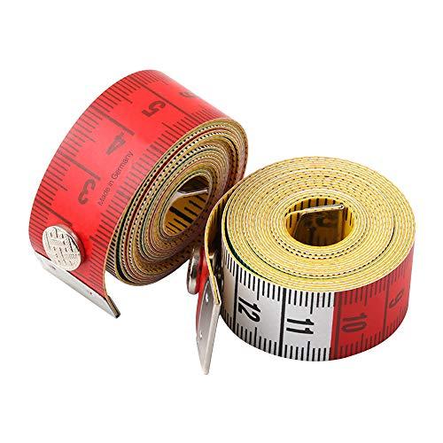 Jimjisメジャー裁縫1.5m巻尺テープメジャー自在定規洋裁メジャーインチセンチバストウエスト服採寸裁縫道具定規テーラーメジャー洋裁定規採寸スナップ付き150cm60inch巻き尺可愛い携帯便利