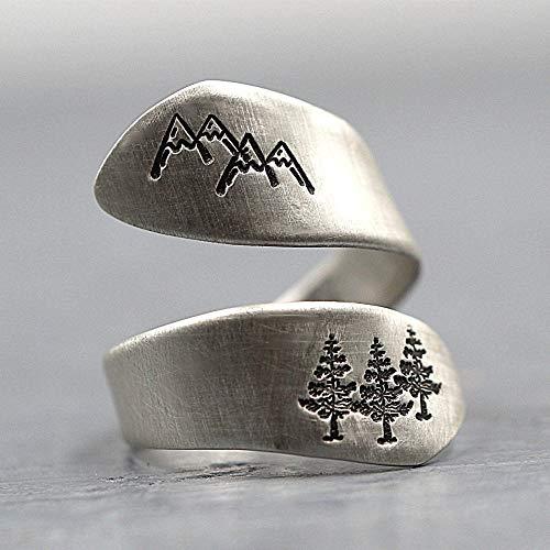 LXLLXL Offene Ringe Für Damen,Vintage Einstellbare Öffnen Thai Silver Mountain Tree Forest Pattern Weihnachten Geschenk Schmuck Für Hochzeit Verlobung Party Frauen Männer Paare