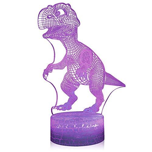 Lámpara de ilusión óptica 3D LED 3D con diseño de dinosaurio, cargador USB, juguetes bonitos y geniales para regalos de cumpleaños, vacaciones de Navidad para bebé
