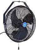 """iLIVING ILG8E18-15 Wall Mount Outdoor Waterproof Fan, 18"""", Black"""