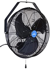 18 inch curved fan blades for optimal air movement Speed adjustable with pull chain control featuring three different speeds Sealed, permanently lubricated industrial motor for wet locations Factory balanced, powder coated aluminum blades Turn this f...
