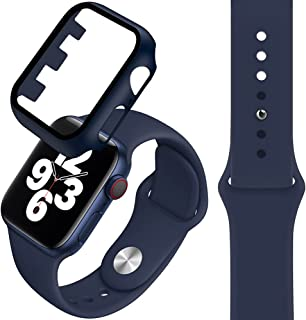 Compatible with Apple Watch band 38/40mm, Silicone Watch Strap + PC Tempered Screen Protective case Suit, Adjustable and R...