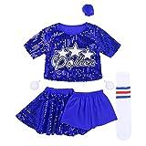 Freebily Kinder Mädchen Tanz Kostüm Pailletten Cheerleading Kostüm Hip Hop Kleidung Karneval...