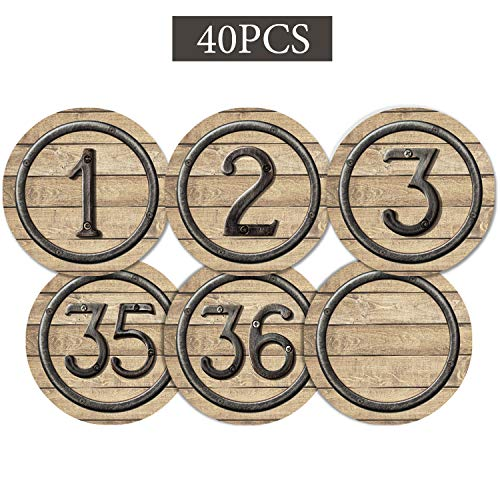 40 Pieces Laminated Industrial Chic Student Numbers Cutouts Circle Wood Grain Cutouts Bulletin Board Accents Cutouts with 40 Adhesive Glue Point Dots for Toddler Kids Preschool Classroom Decorations