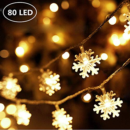 Snowflake LED Fairy Lights with Remote Control Snowflake Shaped LED String Lights for Chrismas, Party, Indoor Outdoor Celebration, Wedding, New Year, Garden Décor Warm White (USB 80 LED,)