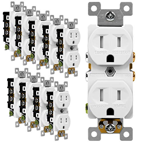 ENERLITES Duplex Receptacle Outlet, Tamper-Resistant Electrical Wall Outlets, Residential Grade, 3-Wire, Self-Grounding, 2-Pole,15A 125V, UL Listed, 61580-TR-W-10PCS, White (10 Pack)