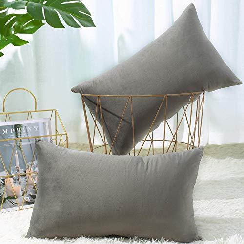 Cubiertas de almohadas 12x20 - Conjunto de 2 cubiertas de almohadas Decorativas, Cubiertas de almohadas lumbarlumbares, Caja de cojín de terciopelo suave, Decoración para el hogar para sofá, cama, sof