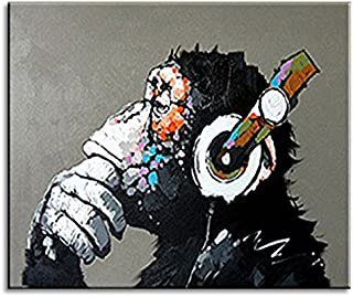 BPAGO Animal Painting Abstract Modern Wall Art for Living Room Chimp 100% Oil Paintings on Canvas Thinking Gorilla Artwork Large Wall Paintings Home Decor Stretched Ready to Hang