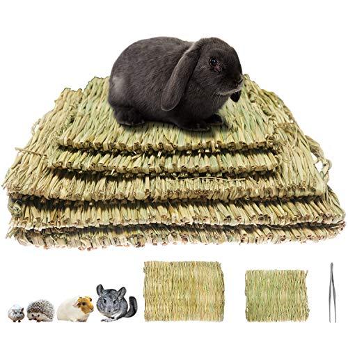 Juego de 5 alfombrillas de hierba tejidas, pajita natural para animales pequeños, juguetes para masticar la cama, juguete para jugar para cobayas, loros, conejos, hámsteres (3 grandes y 2 pequeños)