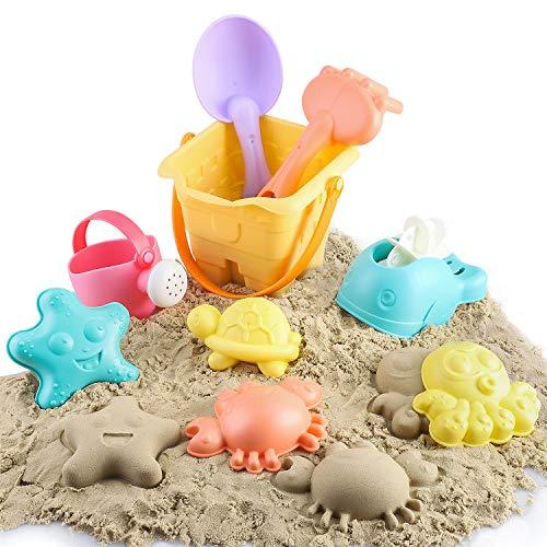 BeebeeRun Juguetes de Playa para Niños,Moldes de Arena para Niño con Moldes Regadera Cubo Rastrillo Bolsa de Malla,Juguete de Verano al Aire Libre, Juguete para Nieve y Baño,Regalo para bebé Niño Niña