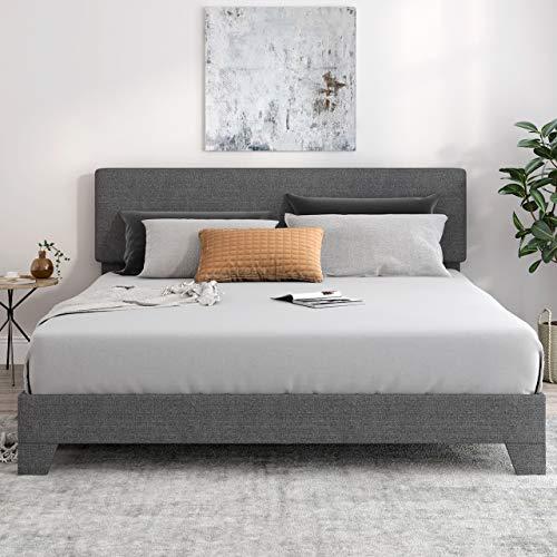 SHA CERLIN King Size Upholstered Platform Bed Frame with Headboard and Wood Slat Support, Mattress Foundation, No Box Spring Needed, Dark Grey