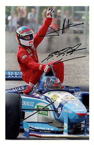 DS John Alesi & Michael Schumacher Autogramme Signiert 21cm x 29.7cm Foto Plakat