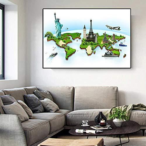 WTYBGDAN Lienzo Moderno Mapa del Mundo Pintura Estatua de la Libertad Atracción turística Póster de decoración e Impresiones Imagen de Pared Dormitorio Pintura para el hogar | 70x100cm | Sin Marco