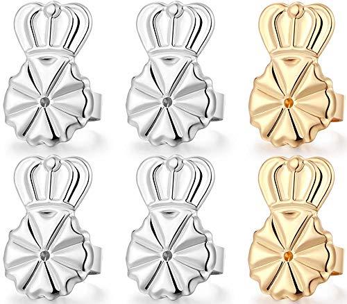 3 Pairs Earring Lifters,Hypoallergenic Earring Backs For Droopy Ears,Adjustable Crown Earring Backs For Heavy Earring (2silver +1gold)