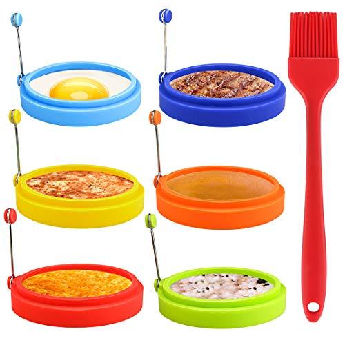 6 Pièces Silicone Anneaux d'oeufs avec 1 brosse de cuisson, Non Bâton Moule à Oeuf Rond Moule Pancake Moisissure Moule à Crêpes Oeuf Anneaux de Cuisine