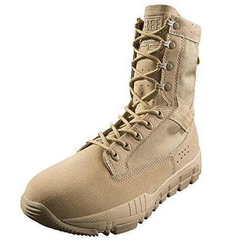 Free Solider Botas de combate Para Hombre Zapatos de cadete Con Cordones militares Con Cuero de gamuza Para caminatas Escalada Motocicleta Trabajo Bota de patrulla táctica Ligera(Sable Couleur,40)