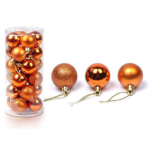 Christmas Baubles Balls Xmas Tree Balls Christmas Decoration Party Ornaments 24 Piece Set (Orange)