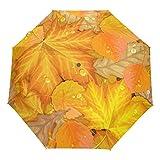 Paraguas de hojas de otoño de otoño automático de apertura de roble Aspen hoja de arce anti UV, paraguas compacto, resistente al viento, ligero para viajes, coche, escuela, sol y lluvia