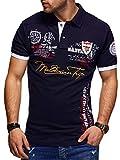behype. Herren Kurzarm Polo-Shirt Bedruckt Maldivian 20-3020 Navy XL