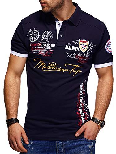 behype. Herren Kurzarm Polo-Shirt Bedruckt Maldivian 20-3020 Navy M