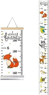 IWILCS Bébé Toise Murale à Suspendre Règle, Diagramme De Croissance De BéBé, Diagramme de Taille, avec Motif Renard Dessin...