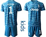 Nuova stagione 2019-2020 NEMIX 19/20 Bambino SZCZESNY 1# Maglia da Calcio T-Shirt Pantaloncini -Blu (22)