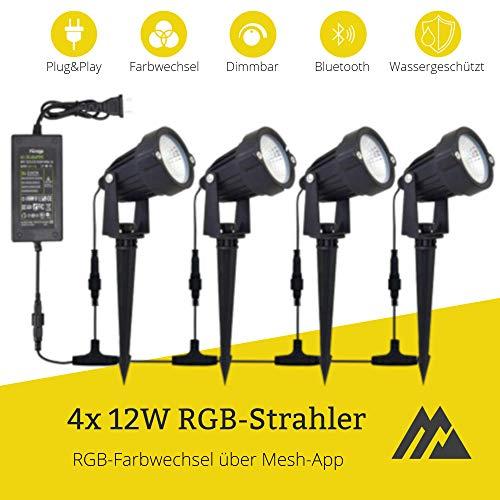 LEDUX RGB 48W Gartenstrahler 4x12W Spots, Farbwechsel mit App-Steuerung, Bluetooth, IP65 Schutz, Trafo DC24V