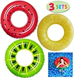 JOYIN Inflatable Pool Floats 32.5' (3 Pack), Fruit Pool Tubes, Pool Toys for Swimming Pool Party Decorations
