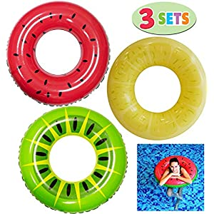 JOYIN Inflatable Pool Floats 32.5″ (3 Pack), Fruit Pool Tubes, Pool Toys for Swimming Pool Party Decorations