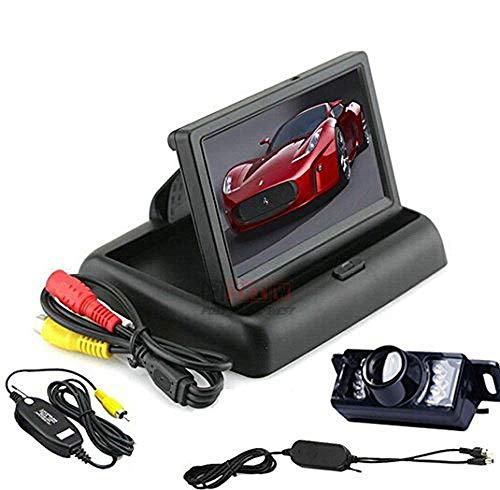 BW® Écran LCD TFT pliable de tableau de bord haute qualité pour vue arrière de voiture avec caméra étanche sans fil 4,3\