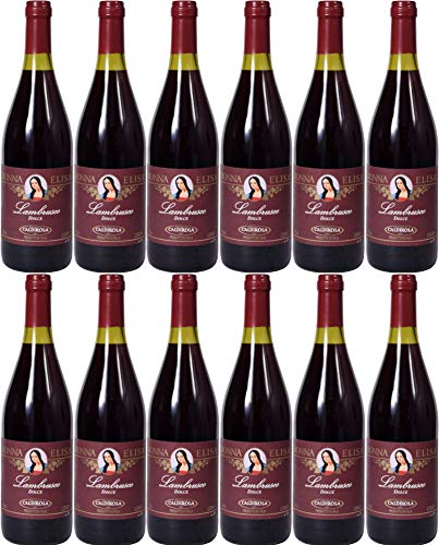 Lambrusco rosso dolce Puglia Donna Elisa Caldirola IGT (12 X 0,75 L) - Vino Roter Süßer 9% Vol. aus Italien
