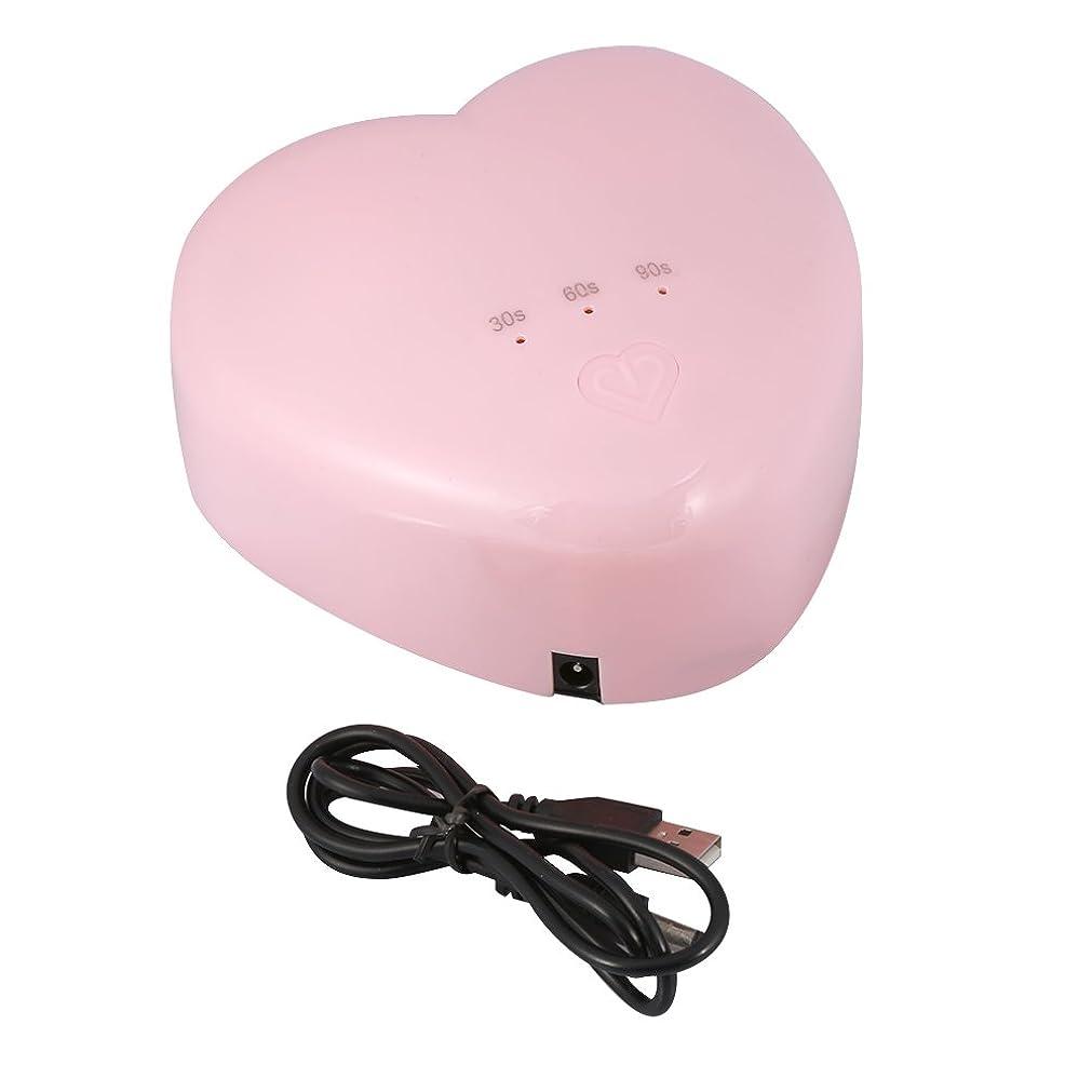 振るう登る一口18W ハート型 UV LEDランプ ネイルドライヤー ネイルポーランドアートツール ネイル用硬化ランプ(ピンク)