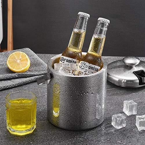 Cubo de hielo Enfriador de doble helado enfriador de acero inoxidable de acero inoxidable cubeta de hielo portátil portátil cubo de hielo para vino Champagne Beer Barra de KTV Para fiestas familiares