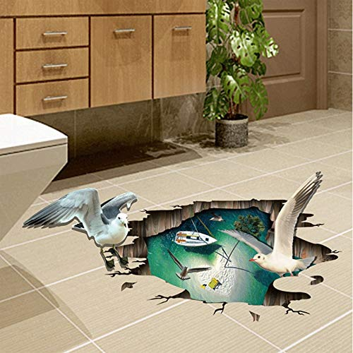 Large 3d Seagull Floor Sticker Wall Sticker Home Decoration for Kids Room Floor Living Room Wall Decals Home Decor Bathroom